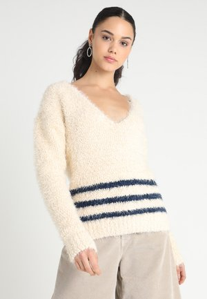 ANCHOR STRIPE VNECK JUMPER - Stickad tröja - off-white/dark blue