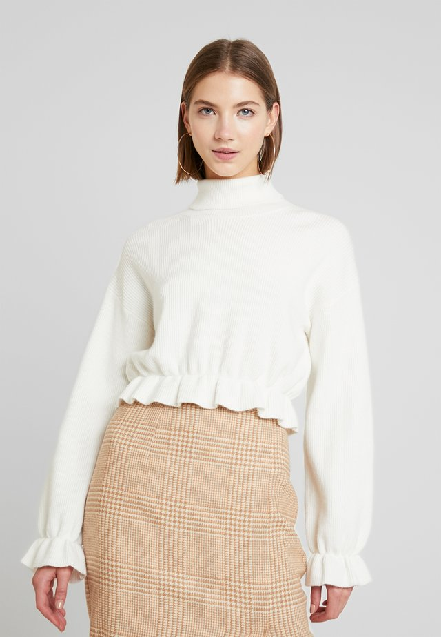ALL MY FRIENDS FRILL JUMPER - Strikkegenser - winter white