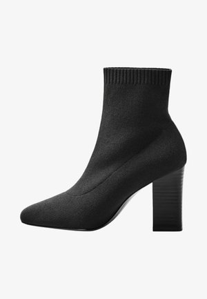 ALMOND - High heeled ankle boots - black
