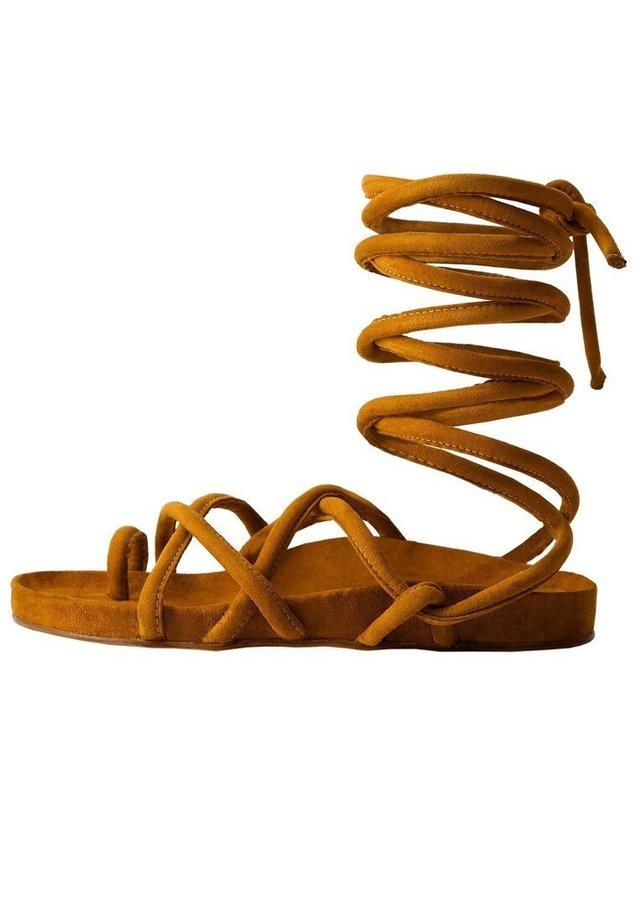 MILAN - Ankle cuff sandals - mittelbraun