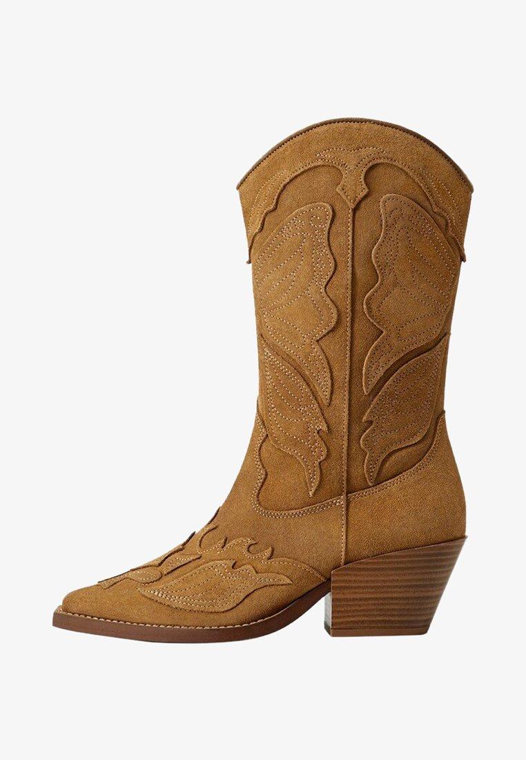 Mango - BUTTER - Cowboy/biker ankle boot - sand