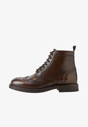 Cowboy/biker ankle boot - marron moyen