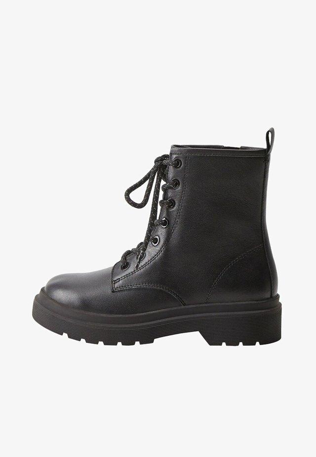 LEDERSTIEFEL ZUM SCHNÜREN - Lace-up ankle boots - schwarz