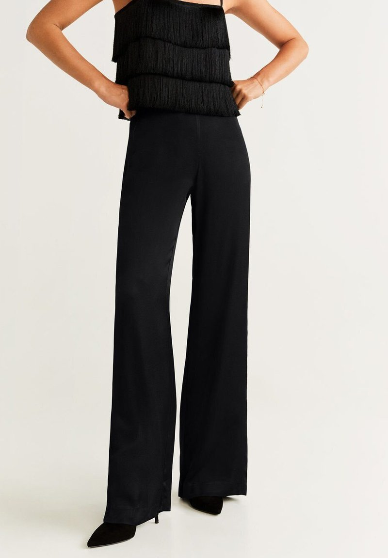 Mango - PALAZZO - Spodnie materiałowe - black