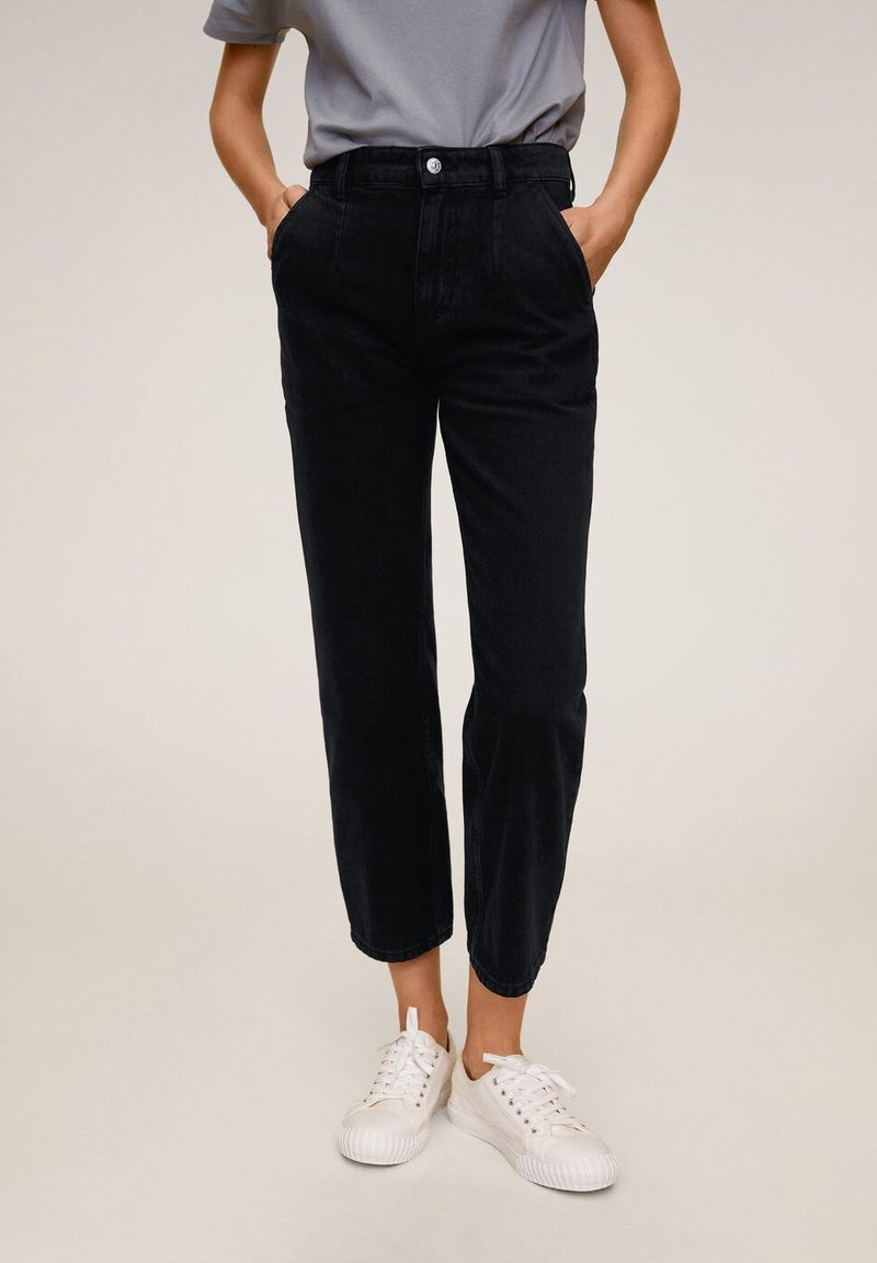 Mango - Stoffhose - black denim