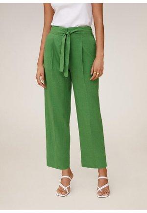 LEINEN IN 7/8-LÄNGE - Pantalon classique - grün