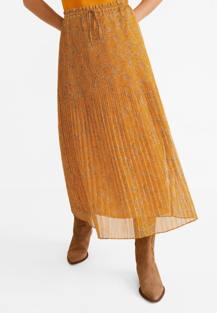 Mango - PRADITO - Pleated skirt - karamell