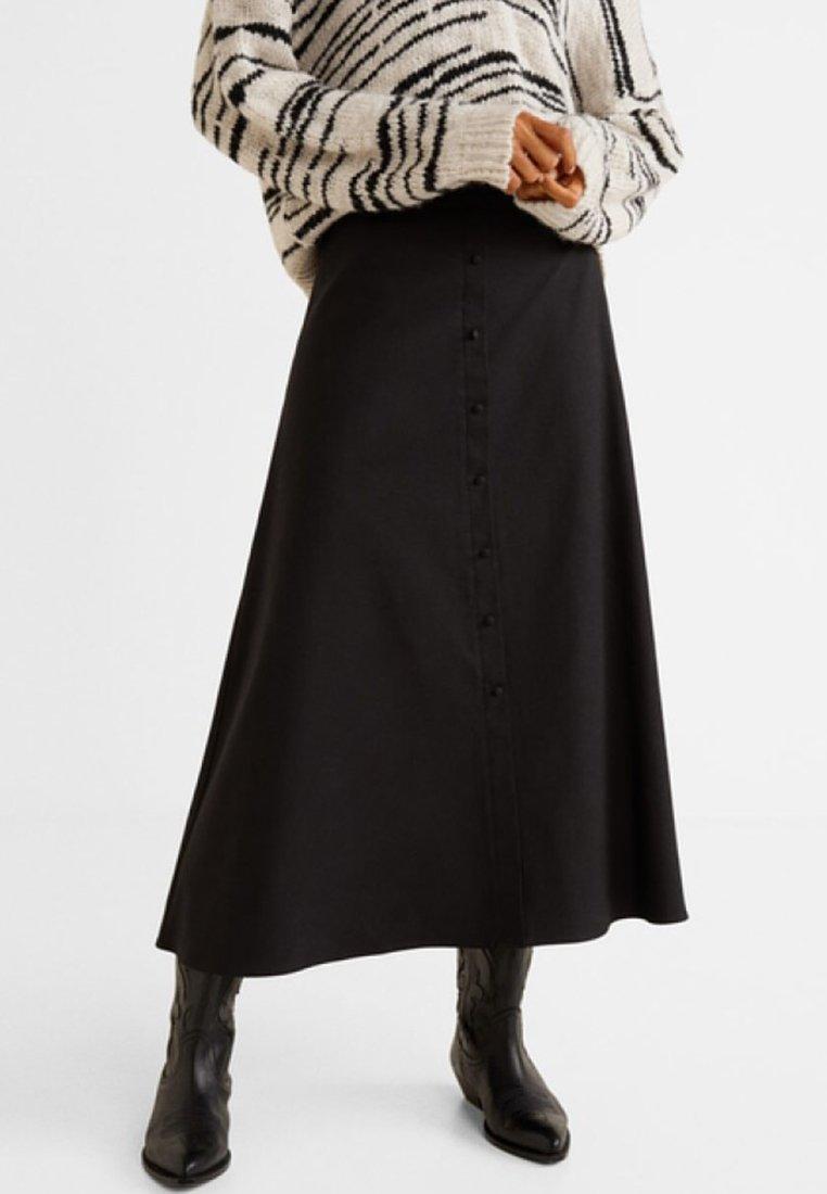 Mango - BOTON - A-snit nederdel/ A-formede nederdele - black