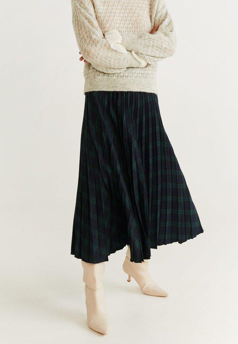 Mango - PLEATED - A-line skirt - green