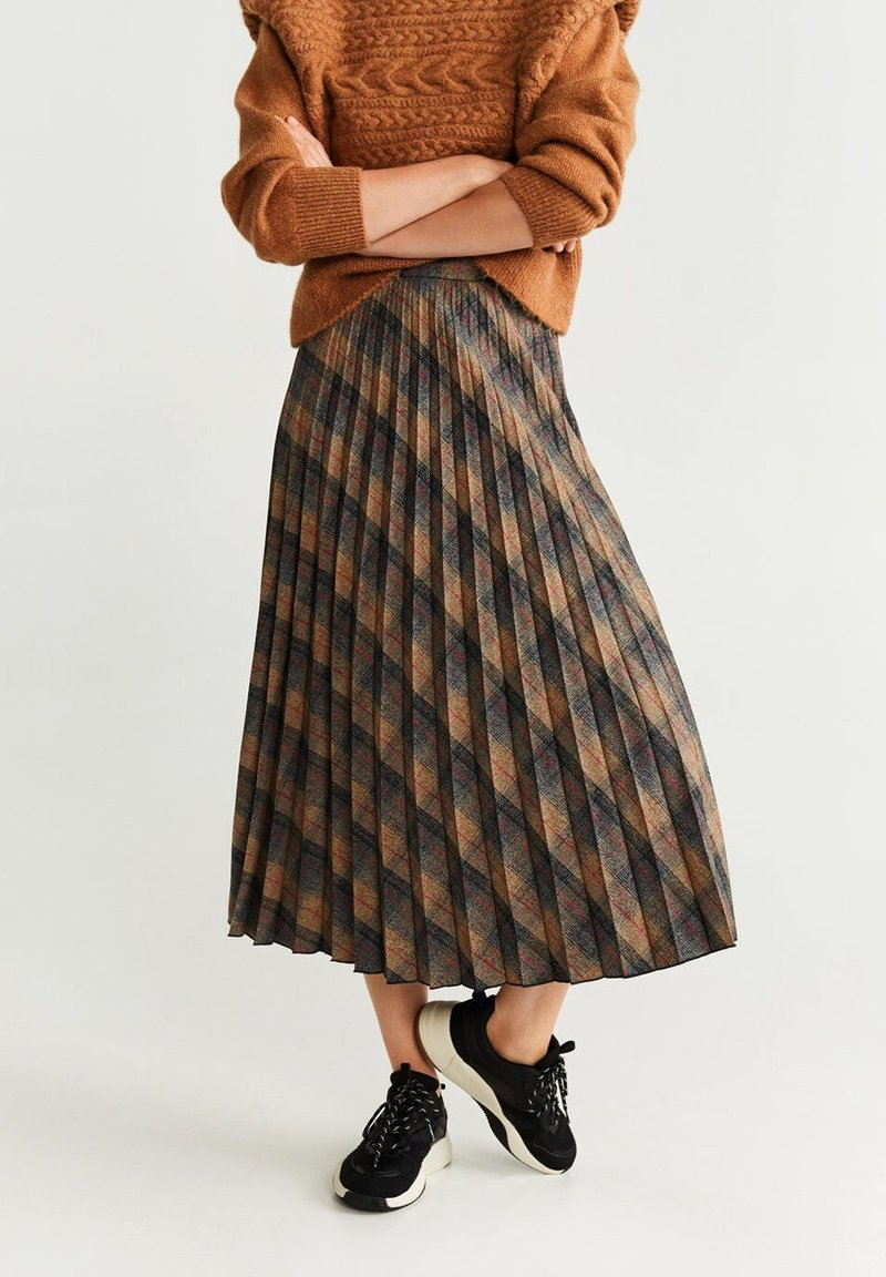 Mango - PLEATED - A-Linien-Rock - brown