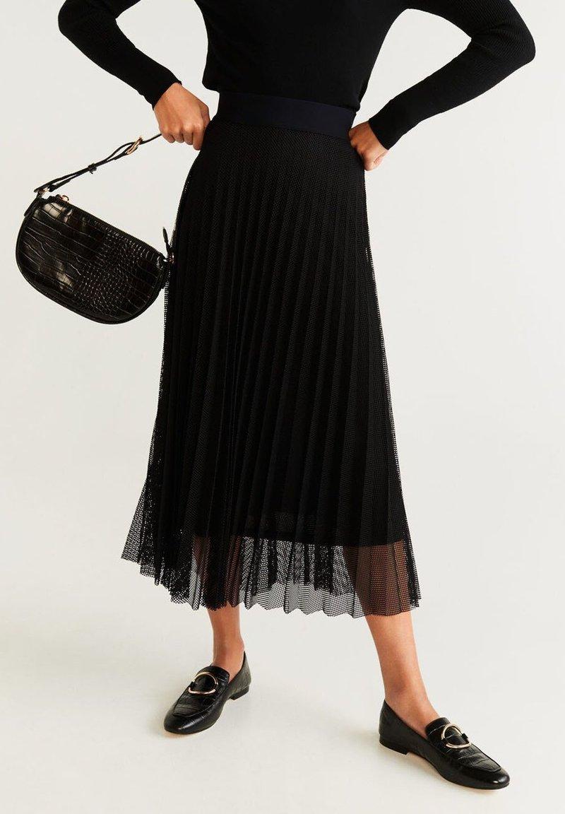 Mango - PLINET - Pleated skirt - black