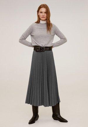 PLISSIERTER MIDIROCK - A-line skirt - grau
