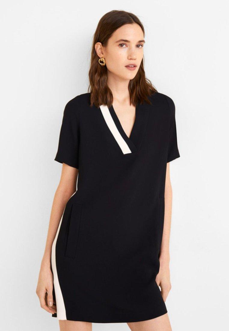Mango - PIPING - Vestito di maglina - black