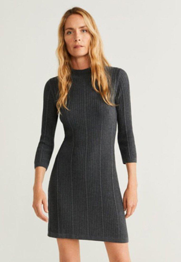 Mango - TURTLE - Strikket kjole - Charcoal grey