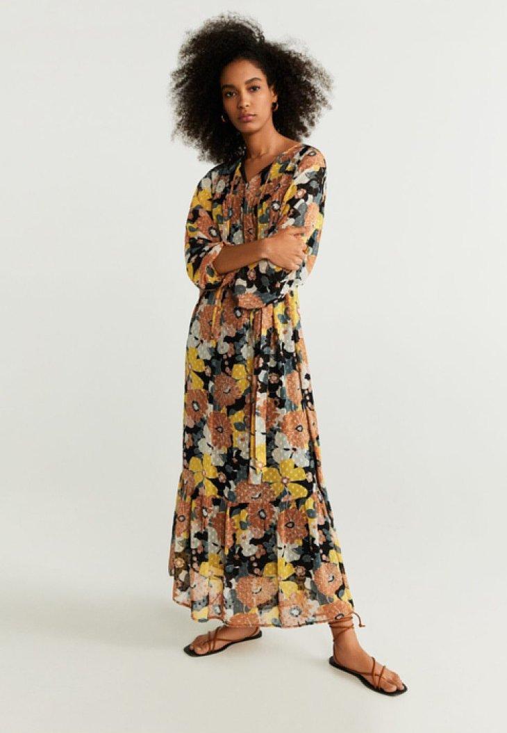 Mango - FLOWER-A - Maxi dress - black