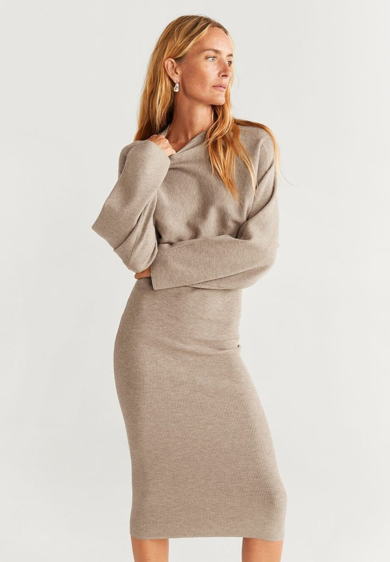 Mango - BOOMERAN - Jumper dress - light gray