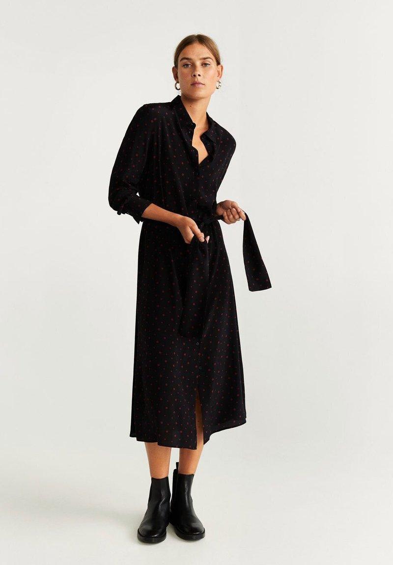 Mango - DOTTY - Shirt dress - black