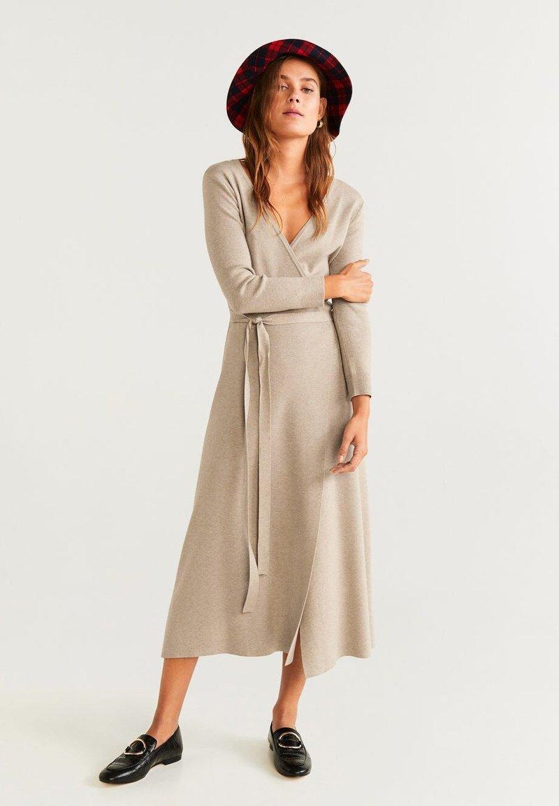 Mango - ZEN - Strikket kjole - light gray / pastel grey