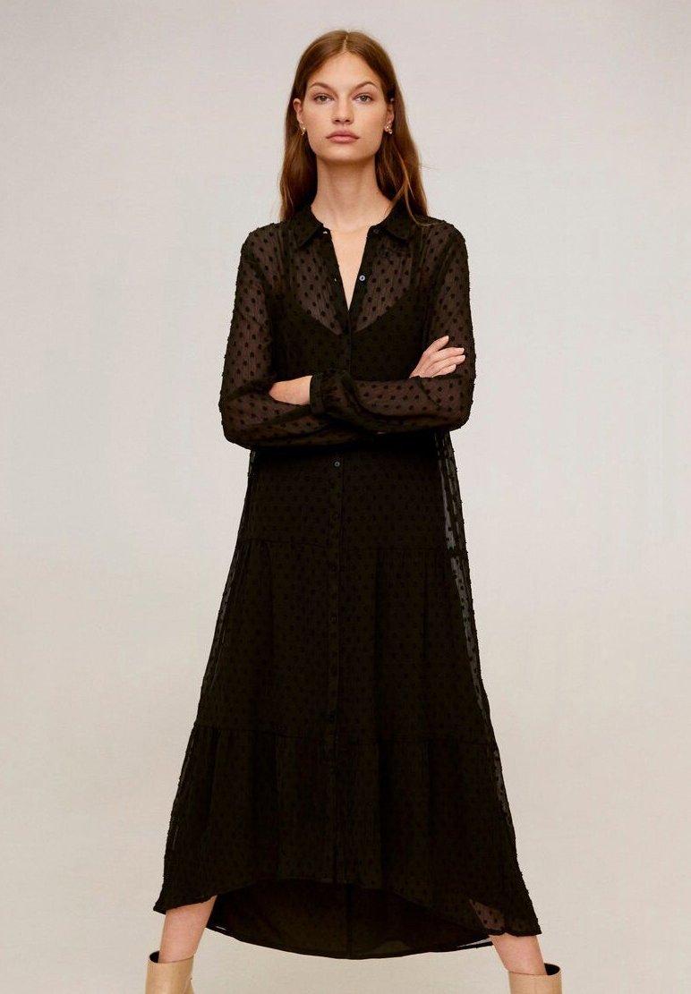 Mango - POMPO - Vestido largo - black