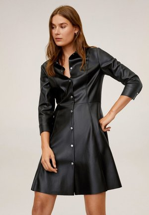 SKIN - Shirt dress - black
