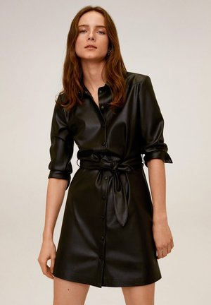 HEMDKLEID MIT TAILLENBAND - Shirt dress - schwarz