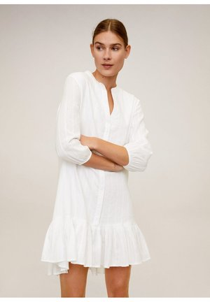 BESTICKTES BAUMWOLLKLEID - Day dress - weiß