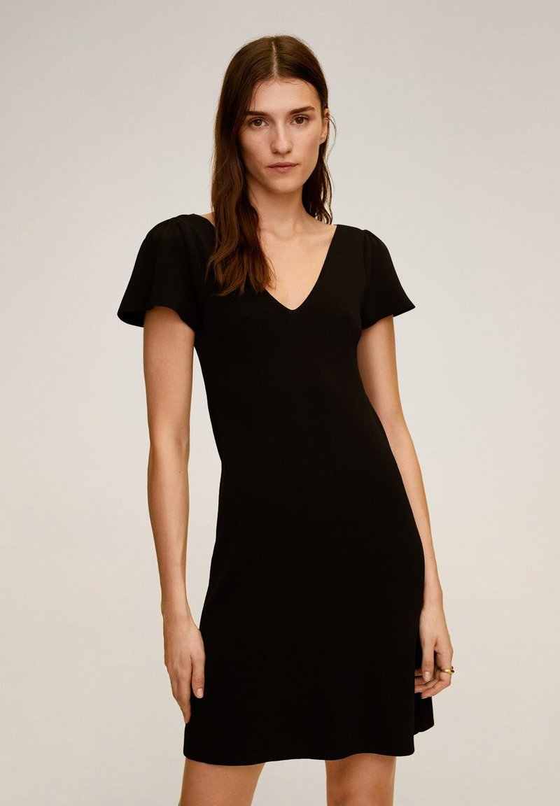 Mango - FRILLS - Korte jurk - noir
