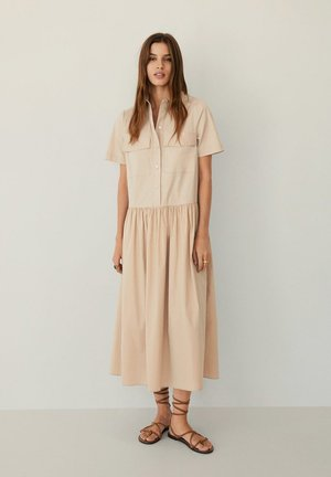 ELNA - Skjortekjole - beige
