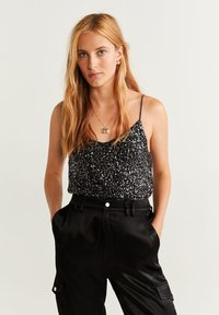Mango - SEQUIN - Top - black - 0