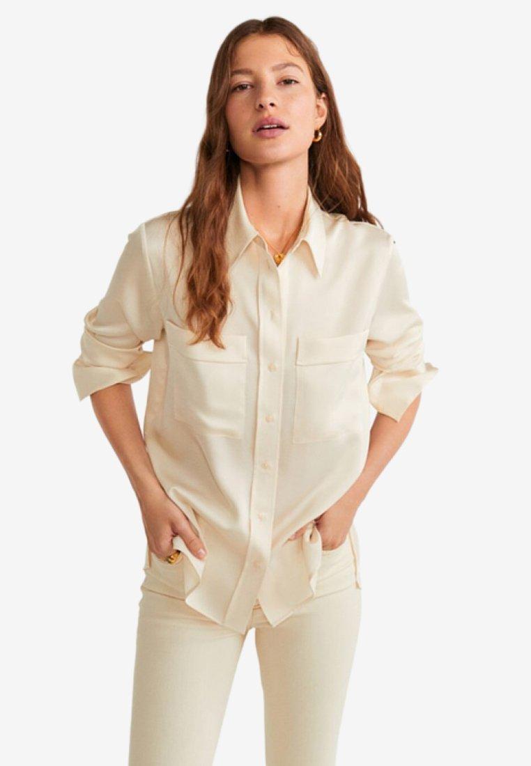 Mango - SATINI - Button-down blouse - beige