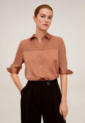 BIMA - Button-down blouse - rotbraun