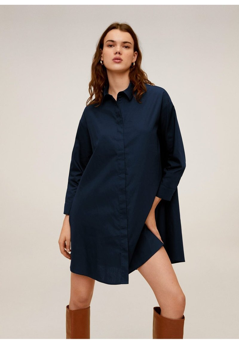Mango - SNOW - Robe chemise - dunkles marineblau