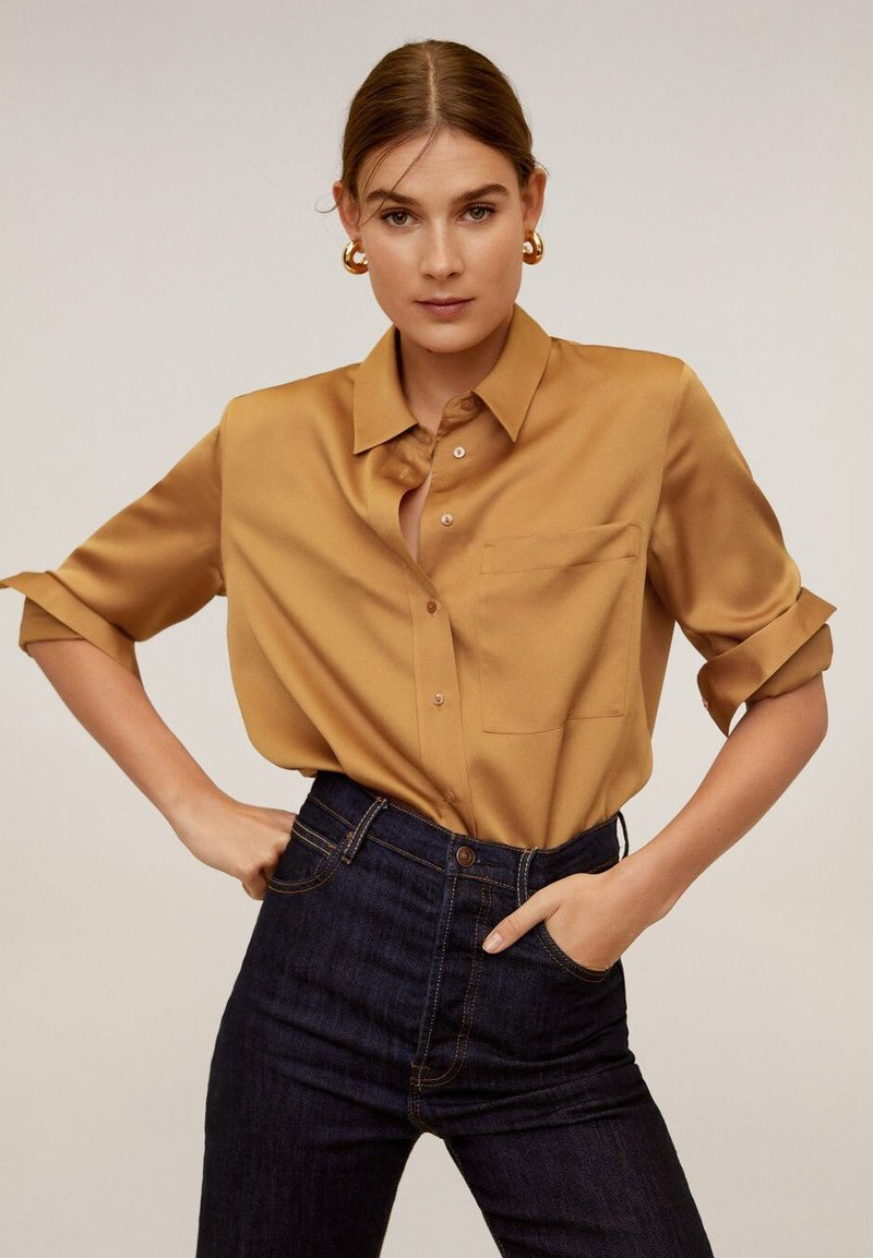Mango - SATINI - Button-down blouse - okker