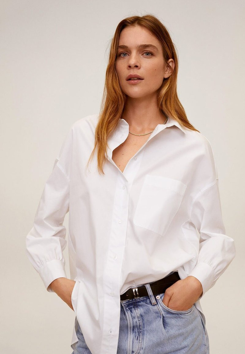 Mango - HAPPI - Button-down blouse - cream white