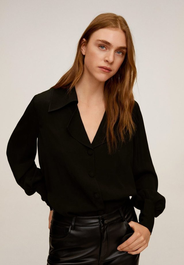 CLOVER-A - Button-down blouse - schwarz