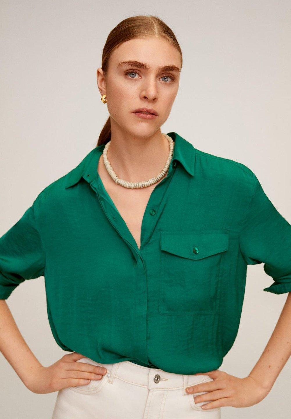 Mango GRETA - Button-down blouse - grün