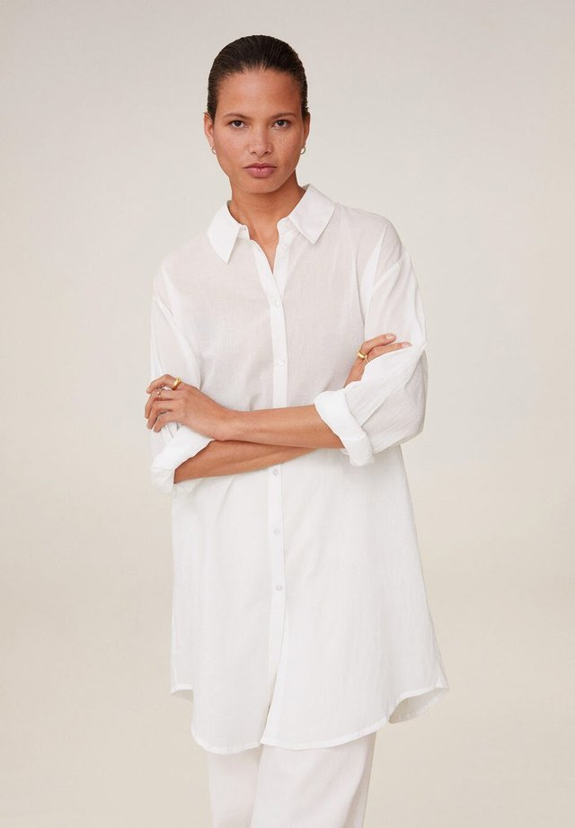 LONGUI - Button-down blouse - bianco sporco