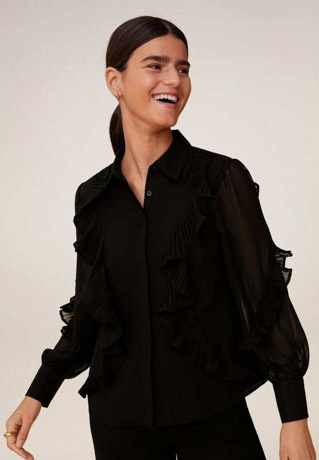 VICTORIA-A - Button-down blouse - schwarz