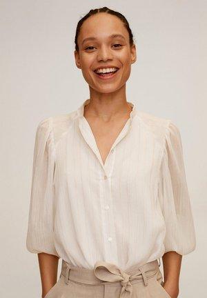 BLOUSE FILS MÉTALLISÉS - Button-down blouse - écru