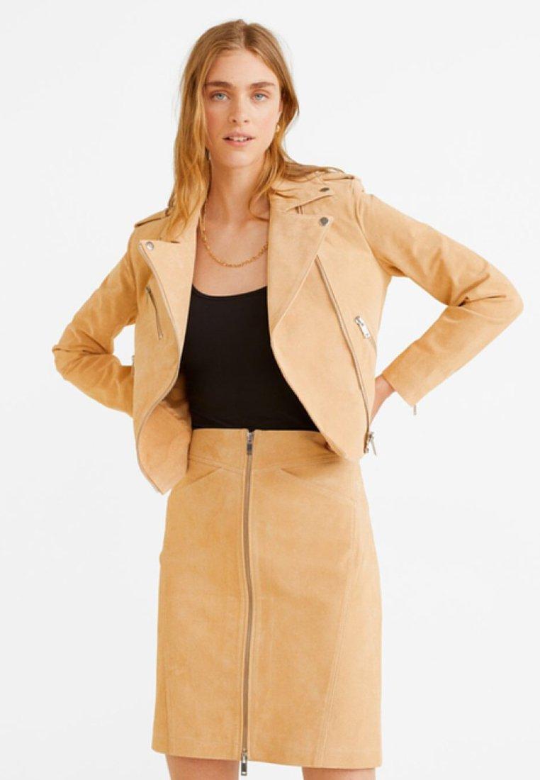 Mango - TEXAS - Leather jacket - sand