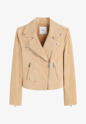 TEXAS - Leather jacket - sand