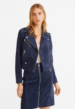 TEXAS - Leather jacket - marineblue