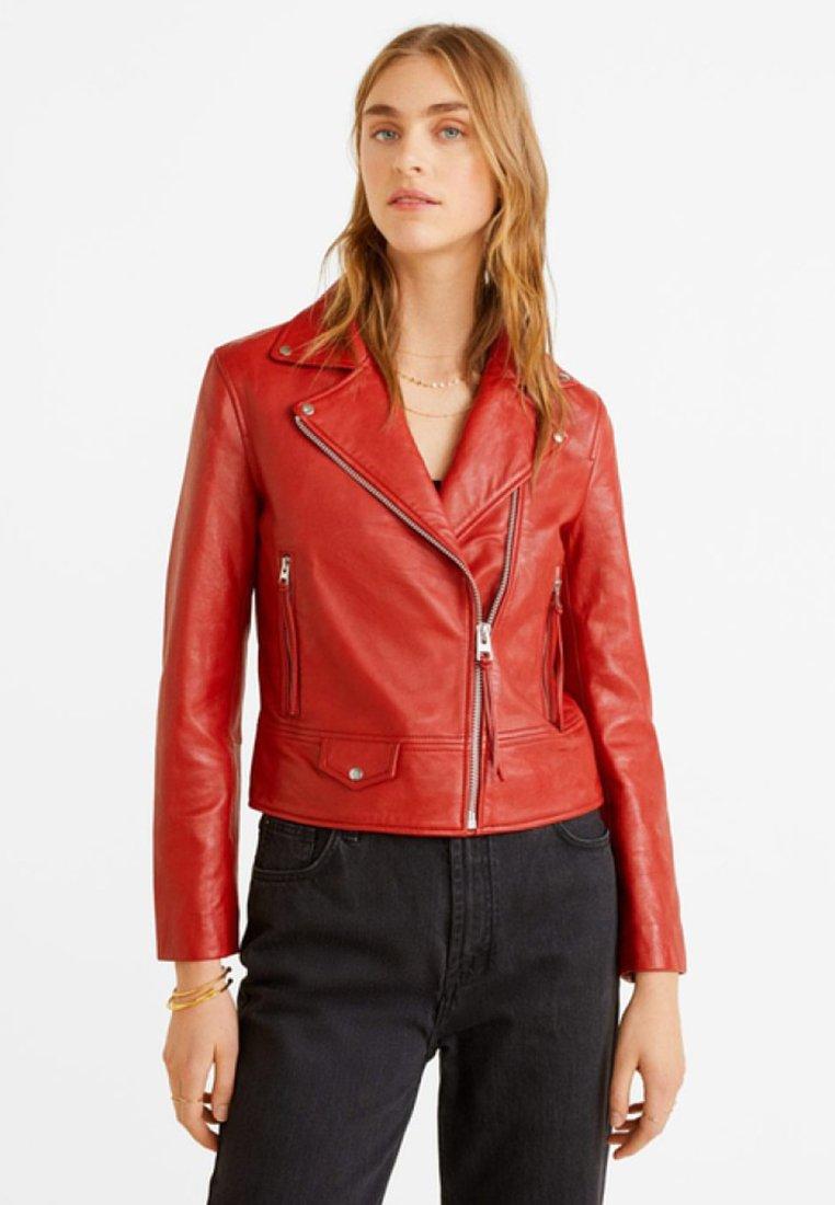 Mango - PERFECT - Leather jacket - rosso