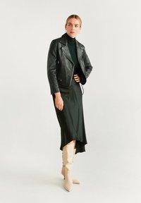 Mango - PERFECT - Leather jacket - dark green - 1