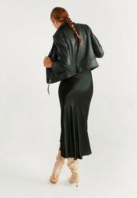 Mango - PERFECT - Leather jacket - dark green - 2