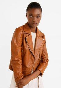 Mango - PERFECT - Leather jacket - cognac - 0