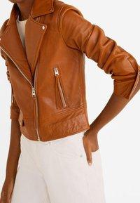 Mango - PERFECT - Leather jacket - cognac - 3
