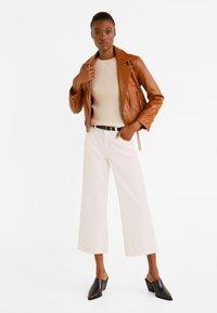 Mango - PERFECT - Leather jacket - cognac - 1
