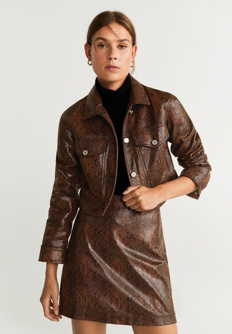 Mango - SNAKE - Faux leather jacket - brown