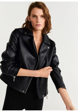 BIKERJACKE MIT LEDER-EFFEKT - Faux leather jacket - schwarz
